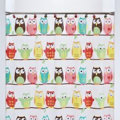 Saturday Knight Owl Vinyl Shower Curtain