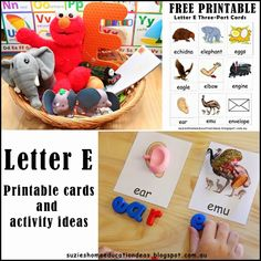 Letter E - Printable Cards and Activity Ideas preschool letter e