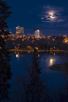 Anchorage by night looking at West Chester Lagoon.