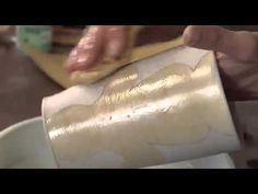 ▶ Pottery Video: Combining Stamped Underglaze Decoration with Shellac Resist on Pottery - YouTube