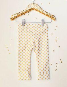 Organic Metallic Gold Polka Dot Leggings