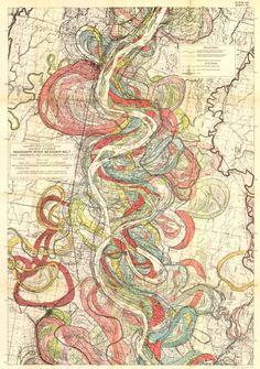 Harold N. Fisk, Map of ancient courses of the Mississippi river (Mississippi River Meander Belt), 1944