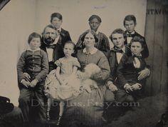 Slavery Era Ambrotype Photo // Family with Black Slave Nanny & Dog