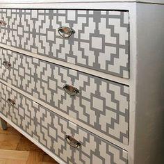 Shipibo Craft Stencil- Medium scale - Reusable stencils for walls instead of wallpaper