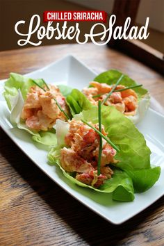 Chilled Sriracha Lobster Salad Lettuce Cups #recipe developed by FromAway.com