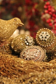 Romancing the Home-velvet trims and rhinestones on guilded egg ornaments