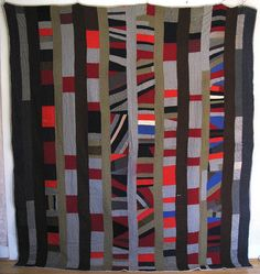 Very Old Wool Columns & Strips Quilt - posted by m.ruth