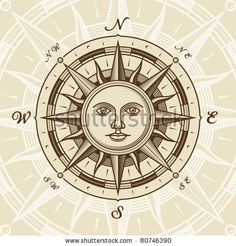 stock vector : Vintage sun compass rose. Vector