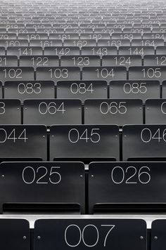 Interesting use of type for auditoria seating. Perspective shown lends to the idea of people hidden by the seats in front.