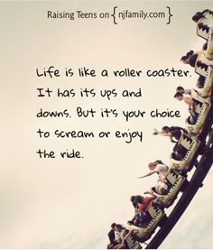Lie is like a roller coaster. It has it ups and downs. But it's your choice to scream or enjoy the ride.