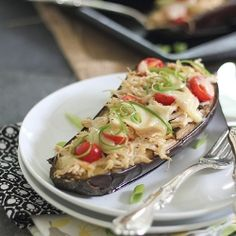 Cheesy Chicken Stuffed Eggplant recipe