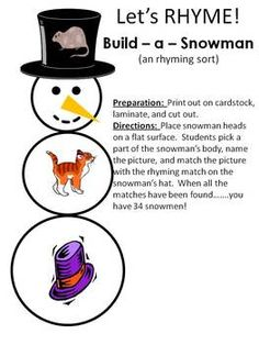 This activity includes 34 snowmen for students to build by matching 34 different rhymes.  There are long and short rhyming word families.  Research...