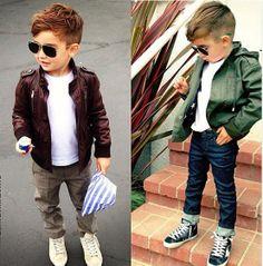 I want E's hair cut like the little boy on the left.