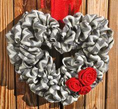 Chevron Burlap Heart Wreath.