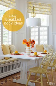 Make the most of your kitchen space with a cozy breakfast nook: http://www.bhg.com/kitchen/eat-in-kitchen/breakfast-nook-ideas/?socsrc=bhgpin042514breakfastnook #BreakFast #Nook #Kitchen #Home ༺༺  ❤ ℭƘ ༻༻