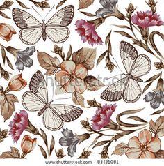 pattern vector, butterflies, backgrounds, design element, ornamentsdecorsfabr pattern, flower vector, 04 vector, flower patterns, vintage flowers