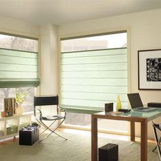 Cordless roman shades are sleek and modern, Find these from Levolor at Blinds.com.