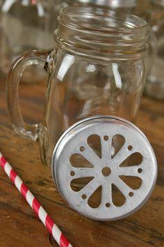 Glass mason jar + striped straw + mason jar lid = the perfect useful party decor!