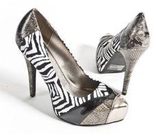 Qupid Women's Faux Suede Snake Skin High Heel Platform Pump Stiletto Shoes, Zebra Pewter Patent Leather, 7.5 M US