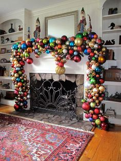 Incredible bauble fireplace - at Christmas, too much is only just enough