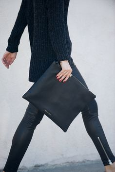ribbed knit, oversized clutch and ankle zip leather pants #style #fashion