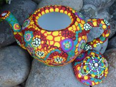 Clay Mosaic Ceramic Teapot Asian Influence Floral by CrazieHappy, $145.00