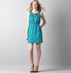 Petite Linen Embroidered Neck Sleeveless Dress