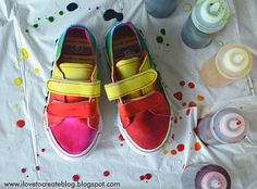 iLoveToCreate Blog: How to make Rainbow Tie Dye Shoes