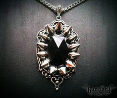 Large Black Spike Necklace, Spike Jewelry, Punk Necklace, Gothic Necklace, Rock n Roll Jewelry
