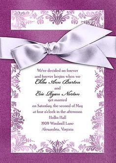 Treasured Jewels Washed Filigree - Violet Invitation With Tangerine Ribbon... Beautiful invites! #DBBridalStyle