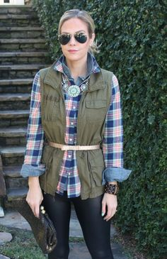 utility vest + plaid shirt + leggings