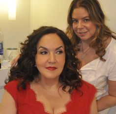 Actress Olga Merediz with a red carpet makeup look by Francesca Roman and gorgeous curls by Angie Hookumchand