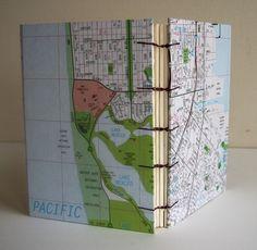 san francisco map hand-bound copic binding journal by steelpetalpress on etsy.com.