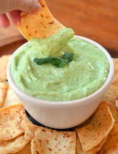 Creamy tofu and green pea dip.