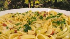 spring fettuccine with bacon and leek More