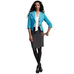 Charming Jacket, Keys Please Top, Faux Wrap Skirt (Charcoal). #CAbi Fall 2012 #ProfessionalPosh.