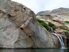 Alpine deep water soloing. I stuck to the easier stuff, that water is cold!