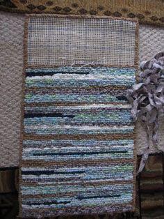 Blue brown locker hook rug