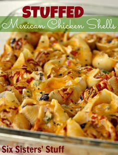 dinner, mexican shell, freezer meals, chicken shell, mexican stuffed shells, pasta
