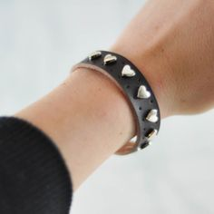 heart studded cuff. very cool!