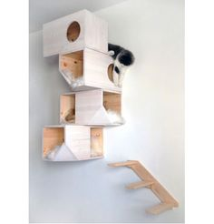 cat wall shelves catissa wall mounted cat house white. Black Bedroom Furniture Sets. Home Design Ideas