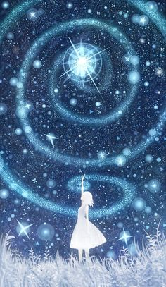 Listen to Reiki as it flows in and around you- become the Reiki- & notice how your life changes. moon, magic, howls moving castle, stardust, blue, swirl, stars, the artist, spiral