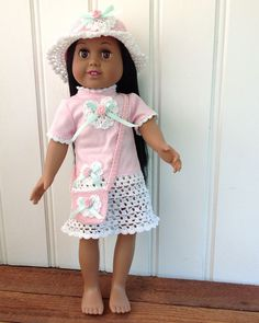 Read our blog: Crochet dresses for girl and doll http://www.maggiescrochet.com/crochet/2013/06/24/crochet-t-shirt-dresses-for-little-ones-and-their-friends/ Rose pattern http://www.maggiescrochet.com/rose-tshirt-dress-hat-purse-for-18-dolls-p-2775.html#.UdMMwfmTjtM #rose #flowers #dress #summer #dolls