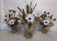 Burlap Flower Centerpiece Set by MammieGsCrafts on Etsy, $25.00