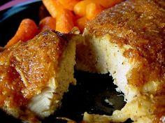 Better than fried!?!?! Melt in Your Mouth Chicken Breast, 1/2 c parmesan cheese,1 c Greek yogurt, 1 tsp garlic powder, 1 1/2 tsp seasoning salt,1/2 tsp pepper, spread mix over chicken breasts, bake at 375 45 mins
