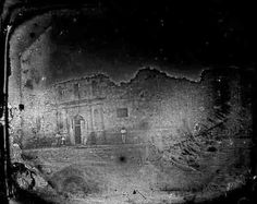 The oldest known photograph of the Alamo in 1849 in San Antonio, Texas. It's a daquerreotype photo. It was taken 13 years after the battle. This photograph is located at the University of Texas in Austin in the center of American history. facades, alamo, american histori, photograph, american history, museums, san antonio, university of texas, 1849