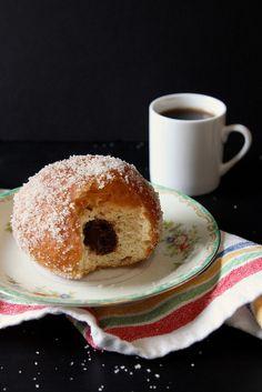 Vanilla Sugar-Coated Chocolate-Filled Doughnuts