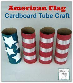 American Flag Cardboard Tube Craft