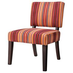 Vale Open Back Slipper Chair - Red and Orange Stripes