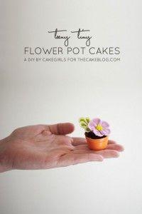 Teeny Tiny Flower Pot Cakes | Cake Tutorial by Cakegirls for TheCakeBlog.com Cake Tutorial, Cup Cake